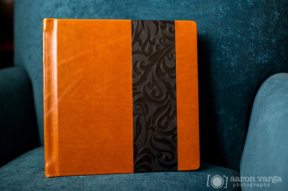 01 Finao One Wedding Album | Orange and Black Flush Mount Wedding Album