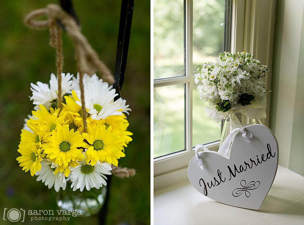 18  - white yellow burlap flowers