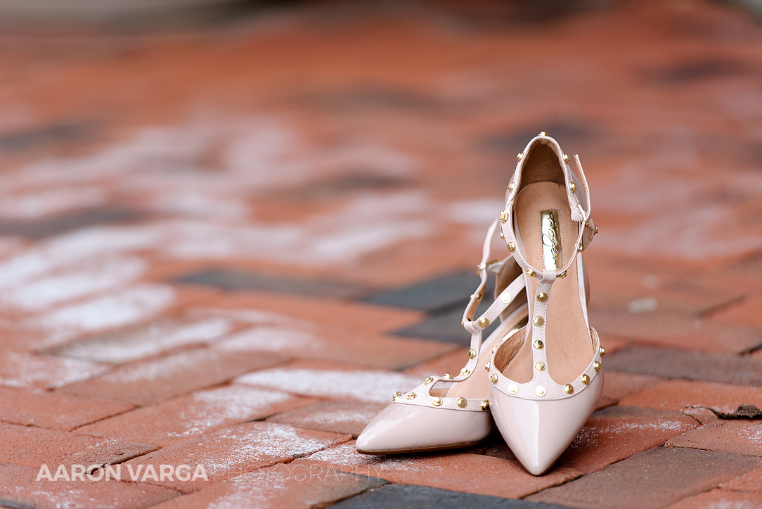 05 pink studded wedding shoes - Amie + Ben | Heinz History Center Wedding Photos