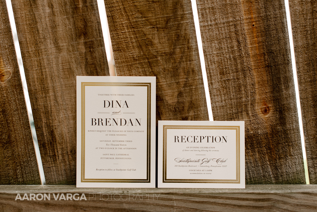 01 custom wedding invitations - Dina + Brendan | Southpointe Golf Club Wedding Photos