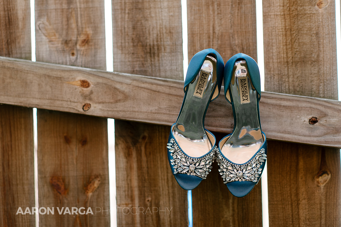 05 badgley mischka wedding shoes blue - Dina + Brendan | Southpointe Golf Club Wedding Photos