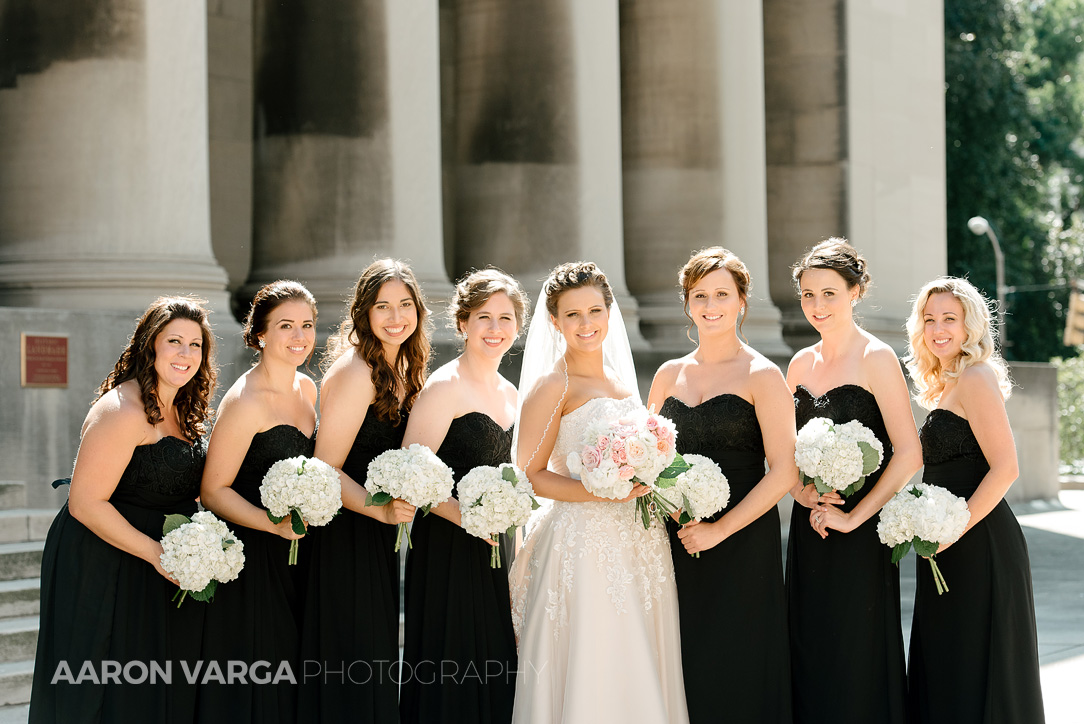 13 mellon institute pillars bridesmaids - Dina + Brendan | Southpointe Golf Club Wedding Photos