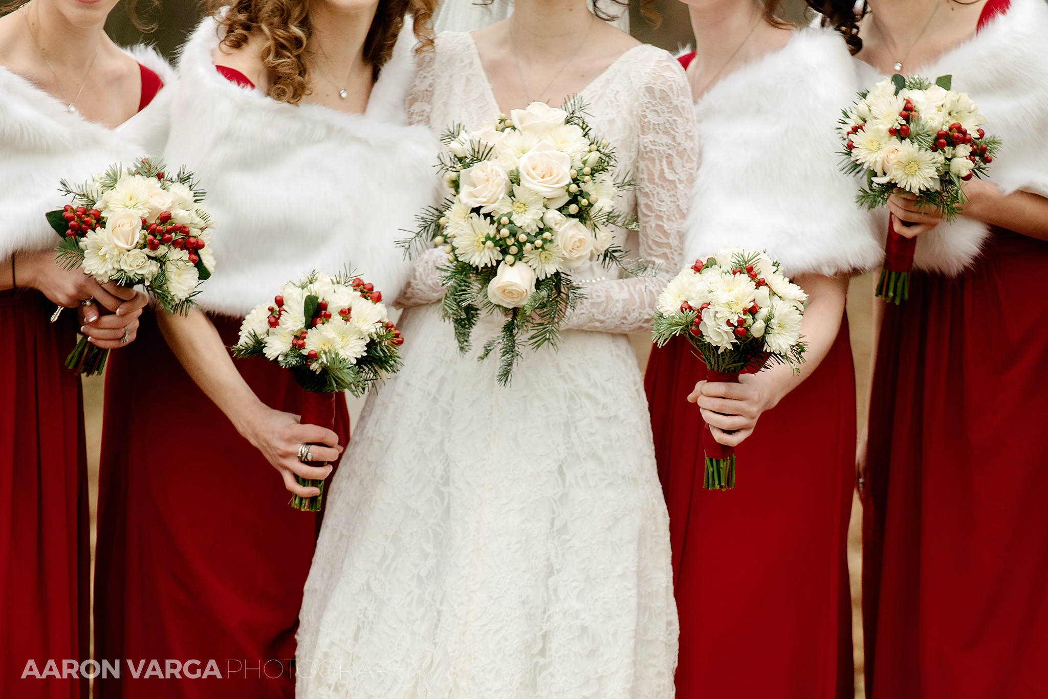 South park and meadows casino wedding for Red winter wedding dresses
