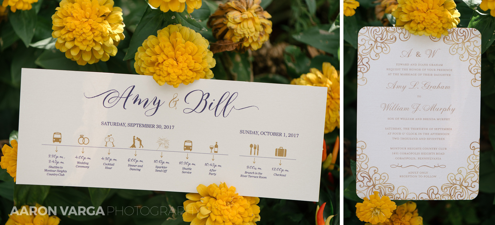 02 unique wedding invitations - Amy + Bill | Montour Heights Country Club Wedding Photos