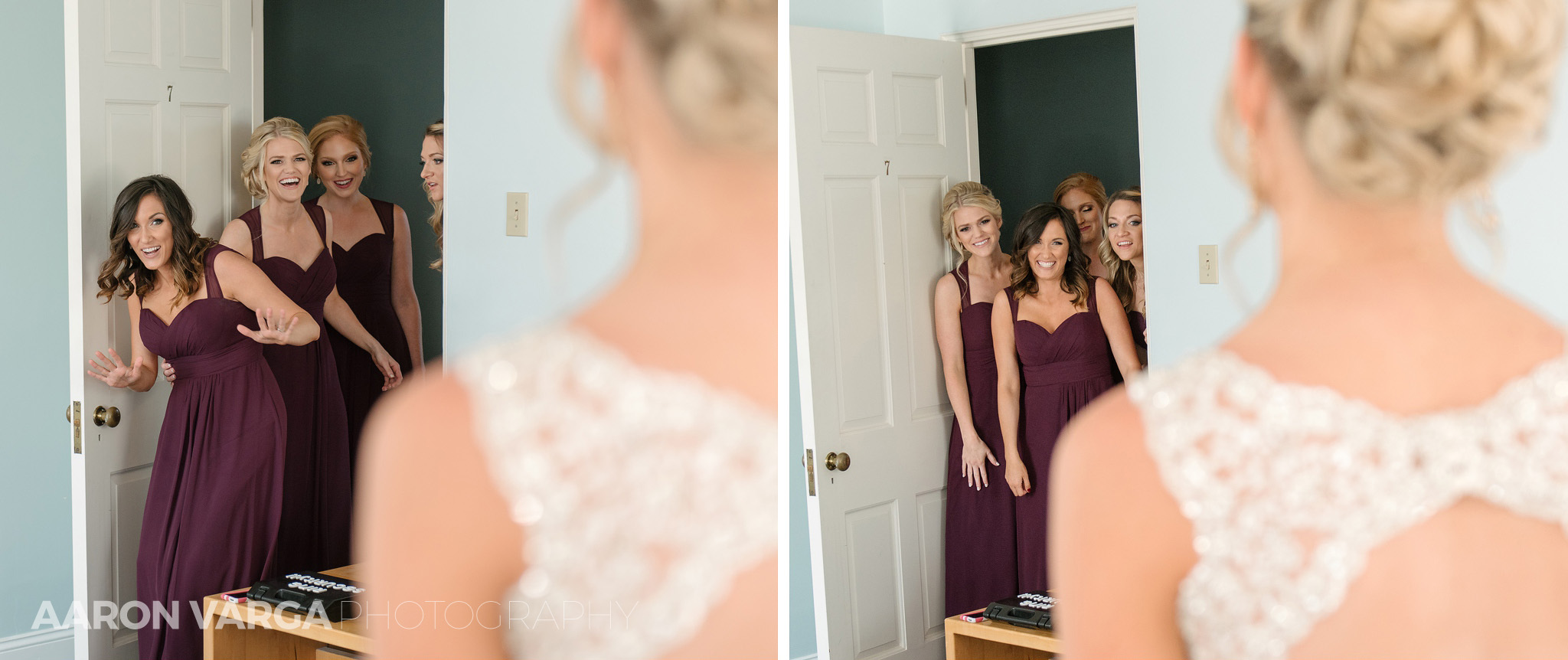 09 bridesmaids seeing bride first time - Amy + Bill | Montour Heights Country Club Wedding Photos