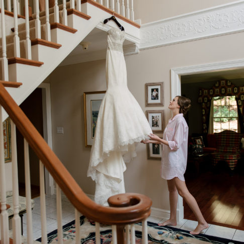 bride admiring wedding dress 485x485 - Longue Vue Club Wedding | Real Wedding | Megan + Robert