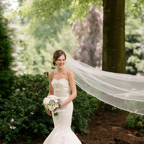 bride cathedral veil 485x485 - Longue Vue Club Wedding | Real Wedding | Megan + Robert