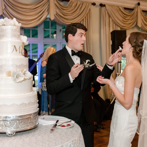 bride groom cutting cake 485x485 - Longue Vue Club Wedding | Real Wedding | Megan + Robert