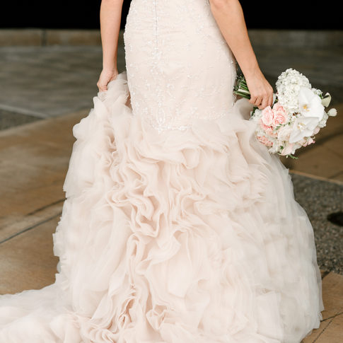 pink tufted wedding dress